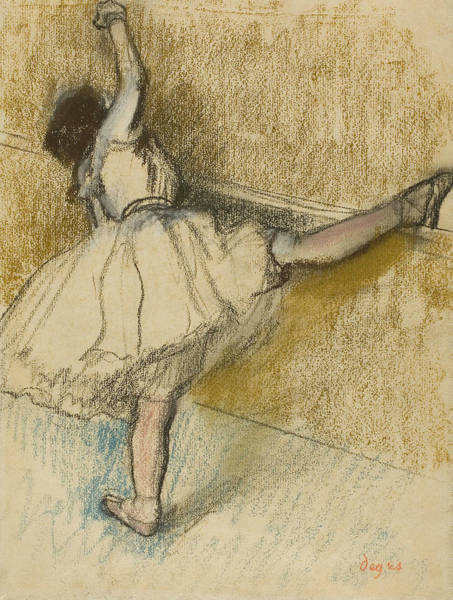 Wall Art - Pastel - Dancer Stretching At The Bar by Edgar Degas