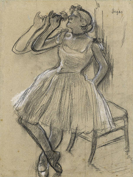 Wall Art - Drawing - Dancer With A Rose by Edgar Degas