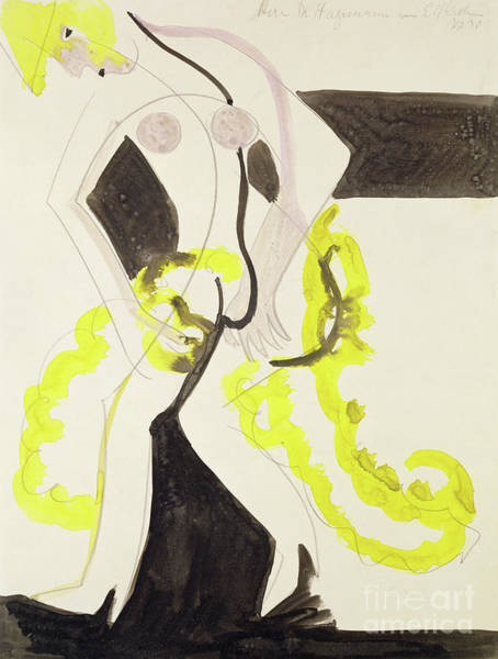 Wall Art - Painting - Dancer With A Yellow Shawl  by Ernst Ludwig Kirchner