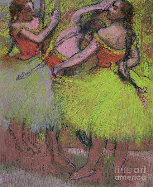 Wall Art - Pastel - Dancers With Hair In Braids by Edgar Degas