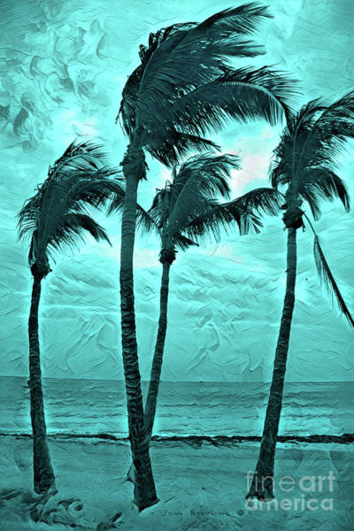 Wall Art - Photograph - Dancing Caribbean Blue Painted Palms by John Stephens
