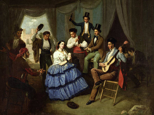 Wall Art - Painting - Dancing In A Fair Caseta, 1865 by Manuel Cabral Bejarano