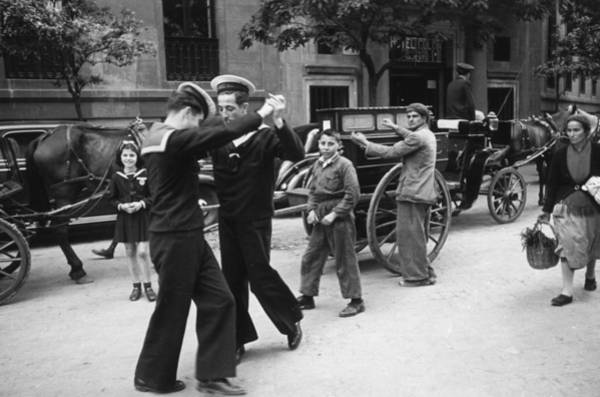 Street Photograph - Dancing Sailors by Haywood Magee
