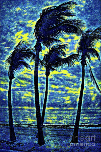 Wall Art - Photograph - Dancing Starry Night Palm Trees - Key West Florida by John Stephens