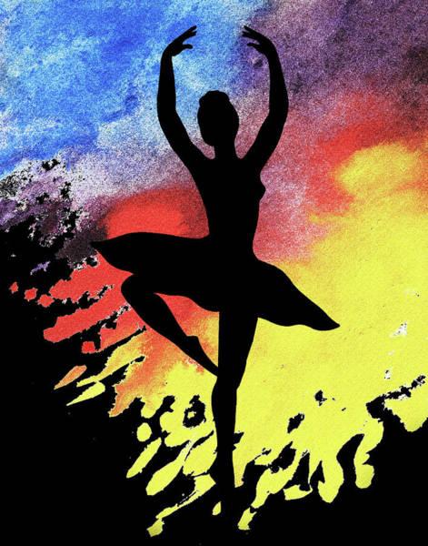 Wall Art - Painting - Dancing With Watercolor Ballerina Silhouette II by Irina Sztukowski