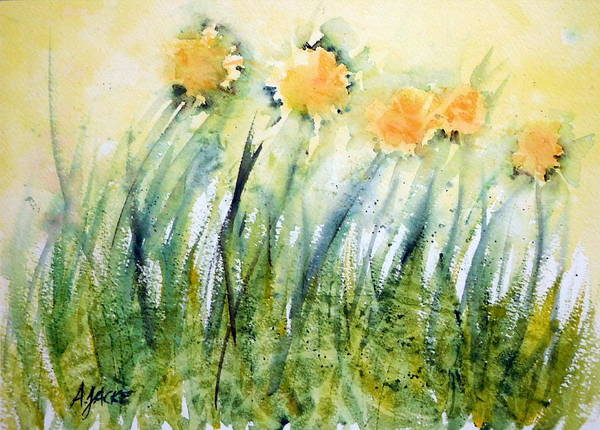 Painting - Dandelions In The Grass by Anna Jacke