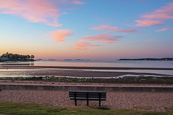 Photograph - Dane Street Beach In Beverly Ma Morning Light Red Clouds Bench by Toby McGuire