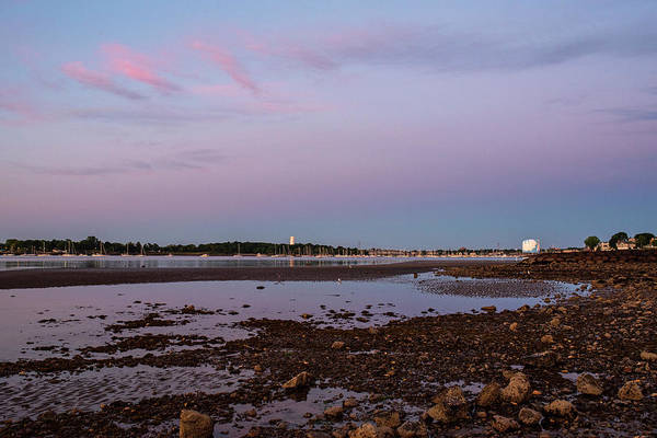 Photograph - Dane Street Beach In Beverly Ma Morning Light Red Clouds Water Tower by Toby McGuire