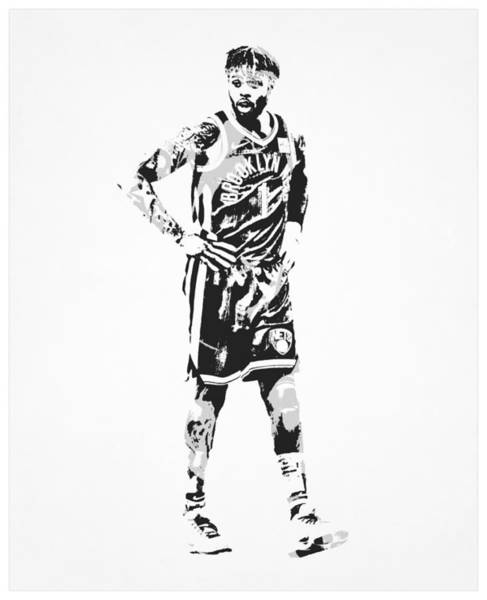Wall Art - Mixed Media - Dangelo Russell Brooklyn Nets Pixel Art 50 by Joe Hamilton