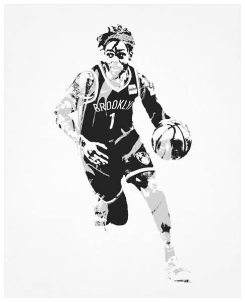 Wall Art - Mixed Media - Dangelo Russell Brooklyn Nets Pixel Art 52 by Joe Hamilton