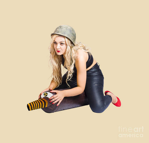 Nuclear Bomb Wall Art - Photograph - Danger Pin Up Girl Riding On Nuclear Bomb by Jorgo Photography - Wall Art Gallery