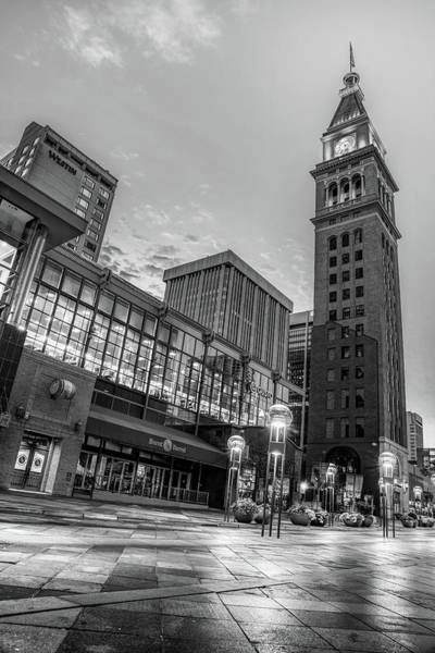 Photograph - Daniel And Fishers Tower - Downtown Denver Colorado Monochrome by Gregory Ballos