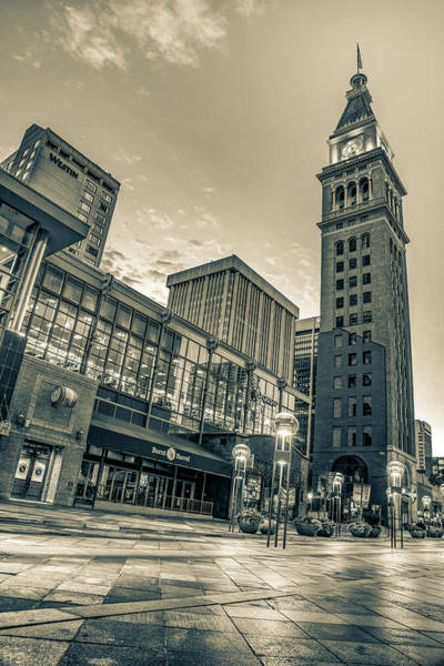 Photograph - Daniel And Fishers Tower - Downtown Denver Colorado Sepia by Gregory Ballos