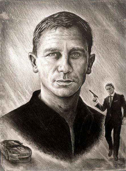 Wall Art - Drawing - Daniel Craig by Andrew Read