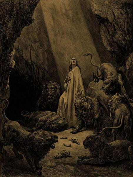 Daniel In The Lions Den, By Dore Art Print
