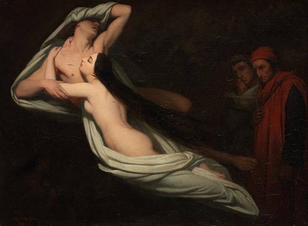 Inferno Painting - Dante And Virgil Meeting The Shades Of Francesca Da Rimini And Paolo, 1851 by Ary Scheffer