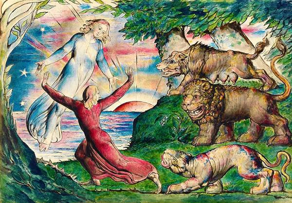Wall Art - Painting - Dante Running From The Three Beasts - Digital Remastered Edition by William Blake