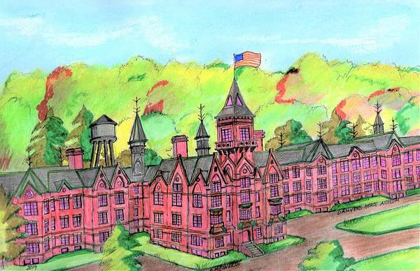 Wall Art - Drawing - Danvers Asylum by Paul Meinerth