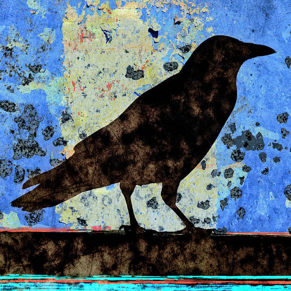Wall Art - Mixed Media - Dappled Crow On Blue by Carol Leigh