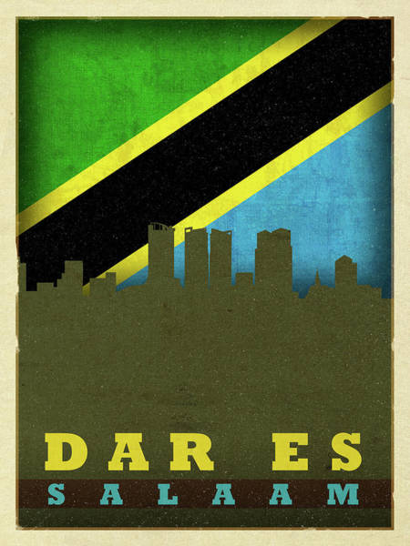 Wall Art - Mixed Media - Dar Es Salaam World City Flag Skyline by Design Turnpike