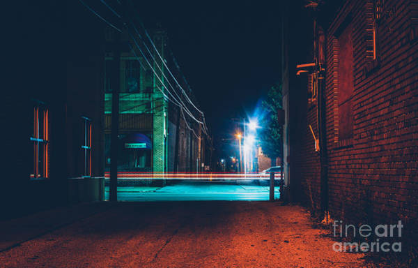 Wall Art - Photograph - Dark Alley And Light Trails In Hanover by Jon Bilous