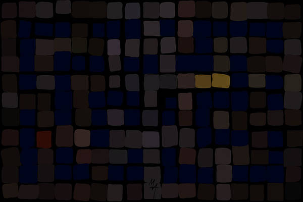 Digital Art - Dark Blue Labyrinth by Attila Meszlenyi