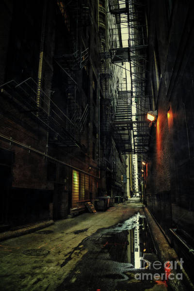 Haunted Wall Art - Photograph - Dark Chicago Alley by Bruno Passigatti
