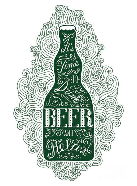 Wall Art - Digital Art - Dark Green Beer Bottle With Lettering by Shevalierart