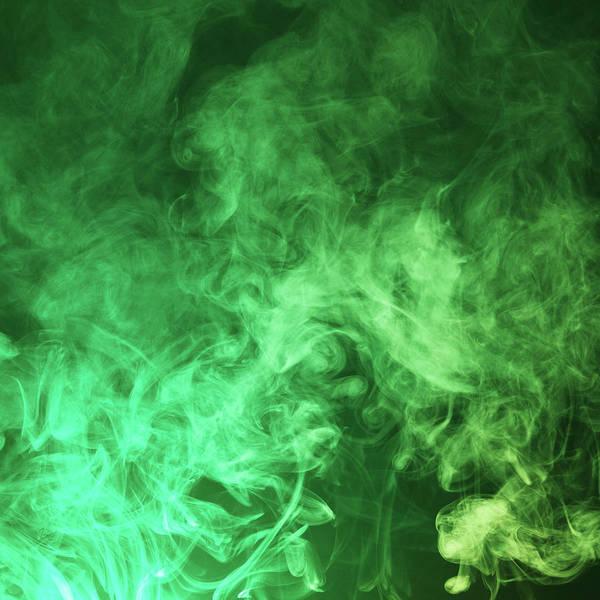 Photograph - Dark Green Smoke Cloud Background by Floriana