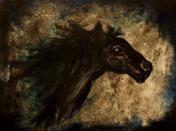Painting - Dark Horse Sketch          38 by Cheryl Nancy Ann Gordon