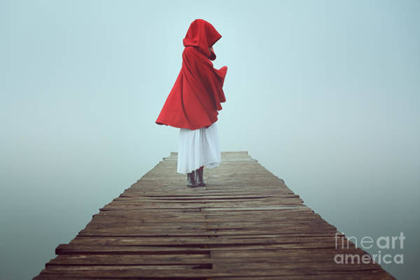 Hazy Wall Art - Photograph - Dark Little Red Riding Hood In The Mist by Captblack76