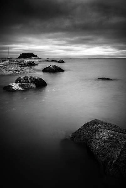 Photograph - Dark Skies Over Tuxis Island Bw by Simmie Reagor