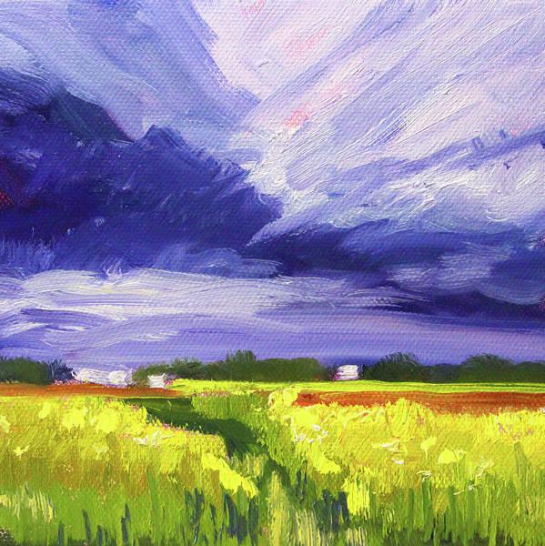 Ultramarine Blue Painting - Dark Sky Landscape by Nancy Merkle