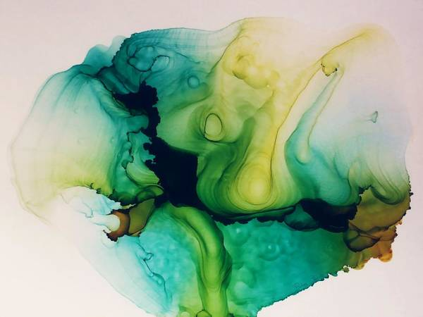 Blending Painting - Dark Space Abstract by Barbara Chichester