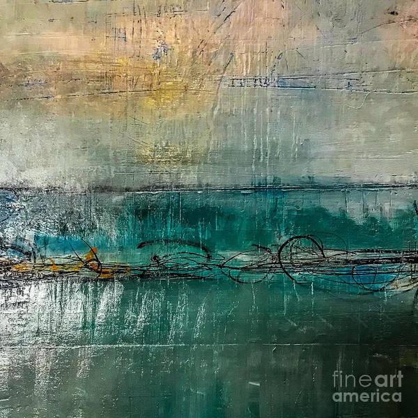 Painting - Dark Turquoise Gold Acrylic Painting by Sheila Wenzel