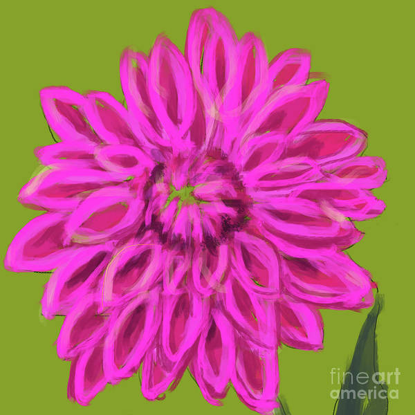 Painting - Darling Dhalia Pink Green by Go Van Kampen