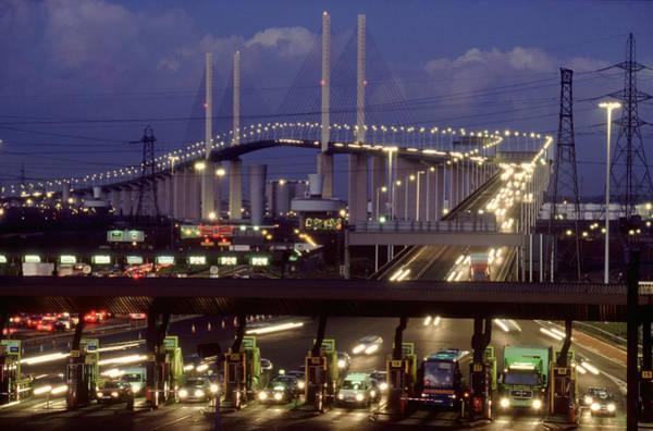 England Photograph - Dartford Bridge At Night, London, Uk by Michael England
