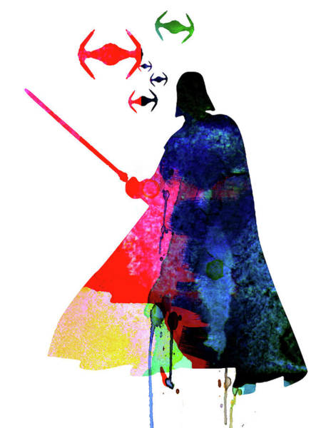 Cult Movie Wall Art - Mixed Media - Darth Fighting Watercolor 1 by Naxart Studio