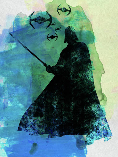 Darth Vader Mixed Media - Darth Fighting Watercolor by Naxart Studio