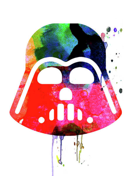 Darth Vader Mixed Media - Darth V Helmet Cartoon Watercolor by Naxart Studio