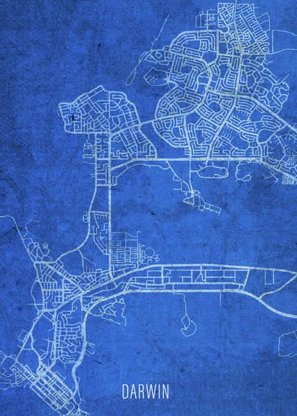 Wall Art - Mixed Media - Darwin Australia City Street Map Blueprints by Design Turnpike