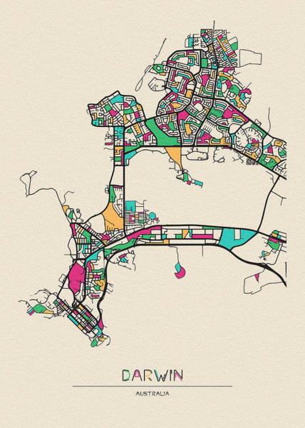 Wall Art - Drawing - Darwin, Northern Territory City Map by Inspirowl Design