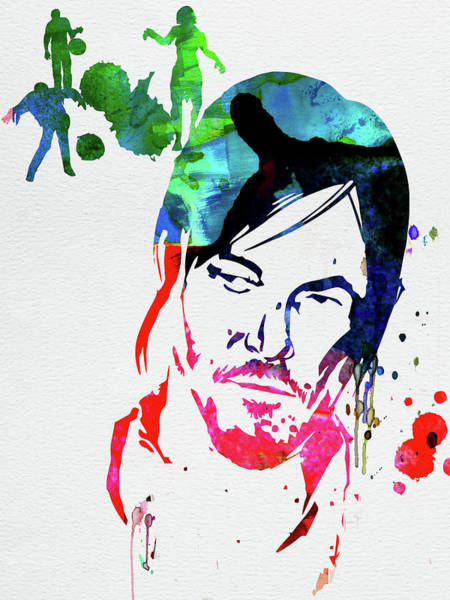 Cult Movie Wall Art - Mixed Media - Daryl Watercolor by Naxart Studio