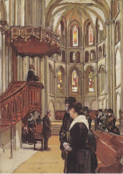 Wall Art - Painting - Das Gebet In Der Kathedrale Saint-pierre In Genf, 1882 by Ferdinand Hodler Paintings