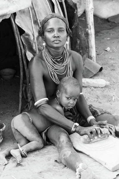 Photograph - Dassanech Mother And Child by Mache Del Campo