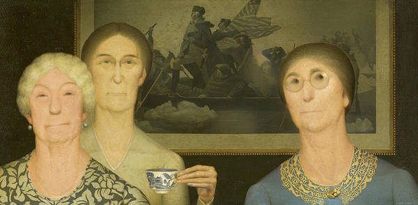 Wall Art - Painting - Daughters Of Revolution, 1932 by Grant Wood