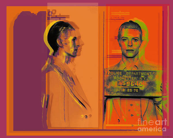 Digital Art - David Bowie Mugshot Pop Art Warhol Style by Jean luc Comperat