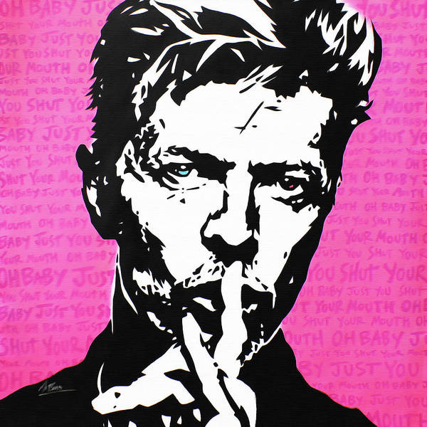 Babe Wall Art - Painting - David Bowie - Shh by Mr Babes