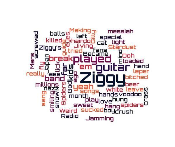 Digital Art - David Bowie - Ziggy Stardust Lyrical Cloud by Susan Maxwell Schmidt