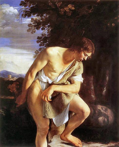 Painting - David Contemplating  by Orazio Gentileschi